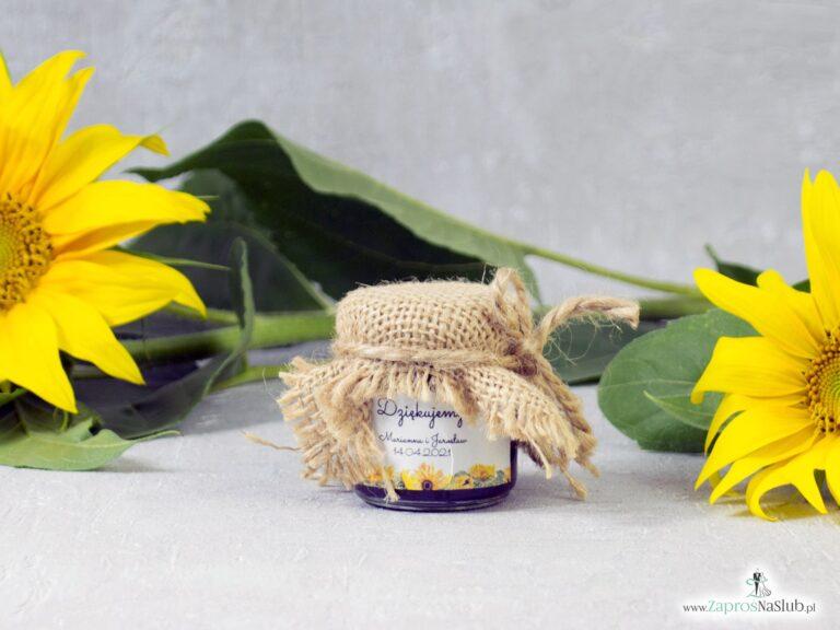 Słoiczek na miód lub dżem 40ml, słoneczniki z taśmą jutową i sznurkiem eko. NNM-133 - ZaprosNaSlub