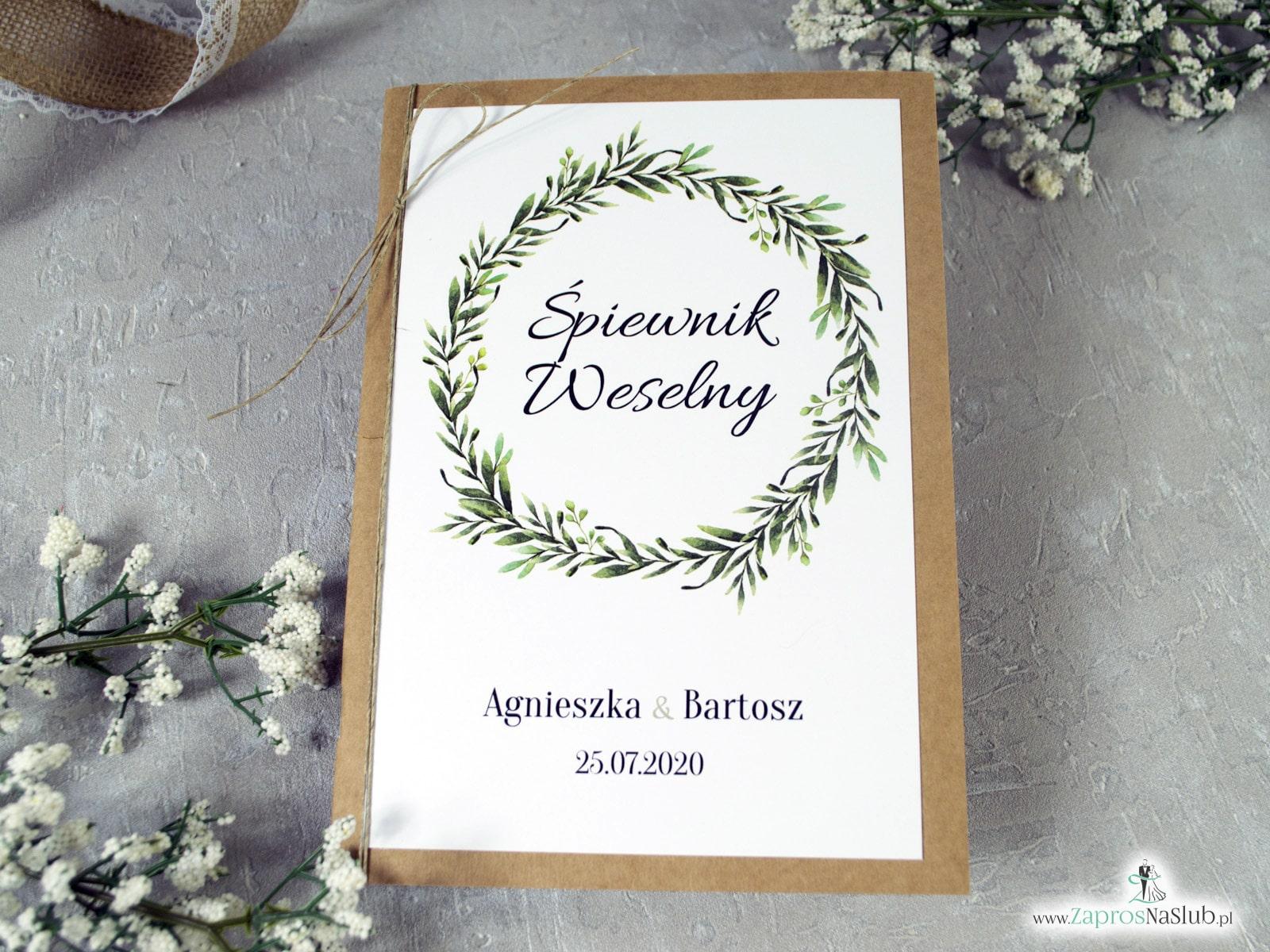 Śpiewnik weselny eko z zielonymi liśćmi w stylu rustykalnym SPW-111