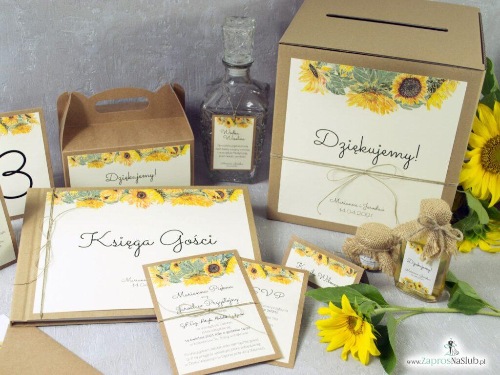 Zaproszenia ślubne, winietki, zawieszki, pudełka na koperty słoneczniki ZAP-133