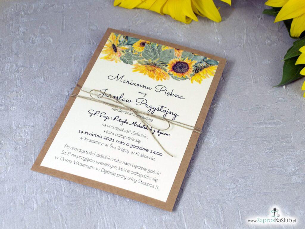 Zaproszenia na ślub ze słonecznikami eko ZAP-133-1