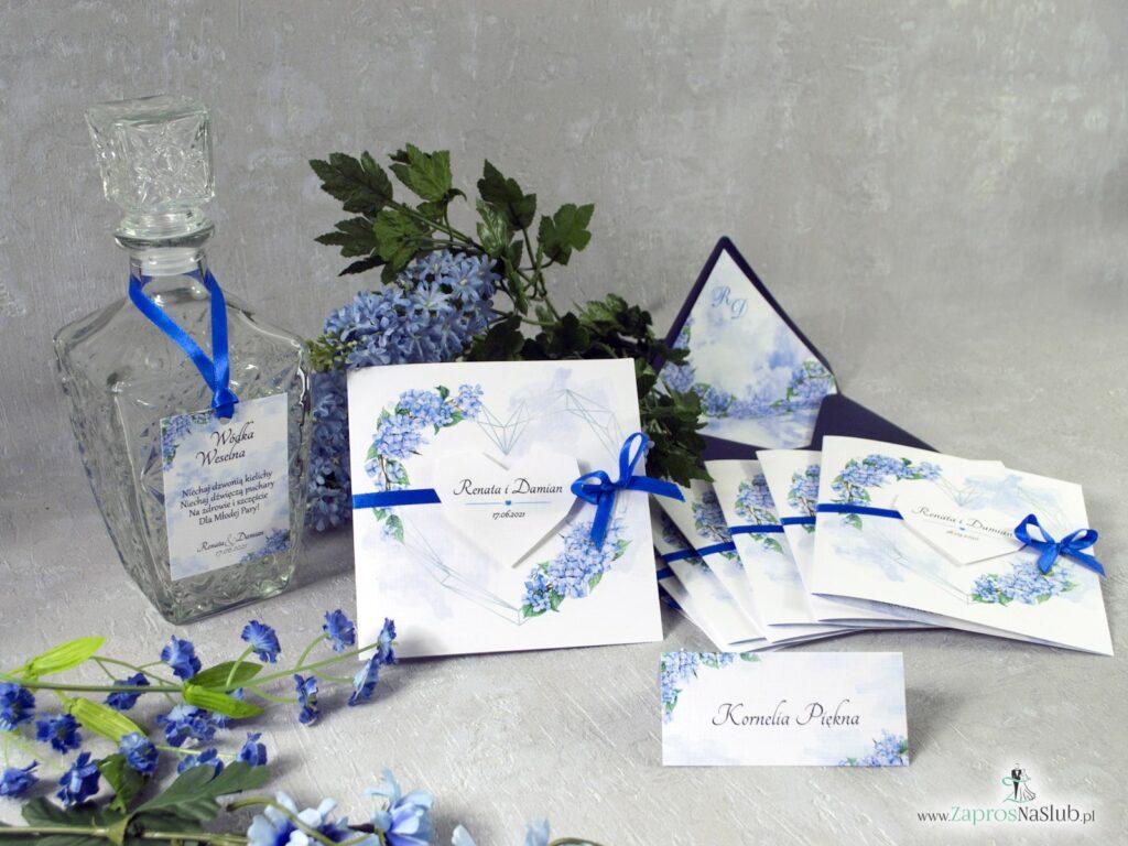 Zaproszenia ślubne z kwiatami hortensji, niebieskie ZAP-41-11