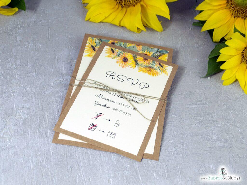 Zaproszenie ślubne słoneczniki, na papierze eko ze sznurkiem jutowym ZAP-133-1