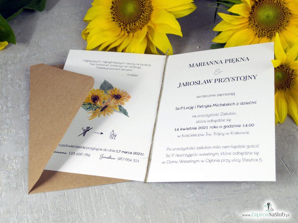Zaproszenie na ślub Słoneczniki ZAP-133