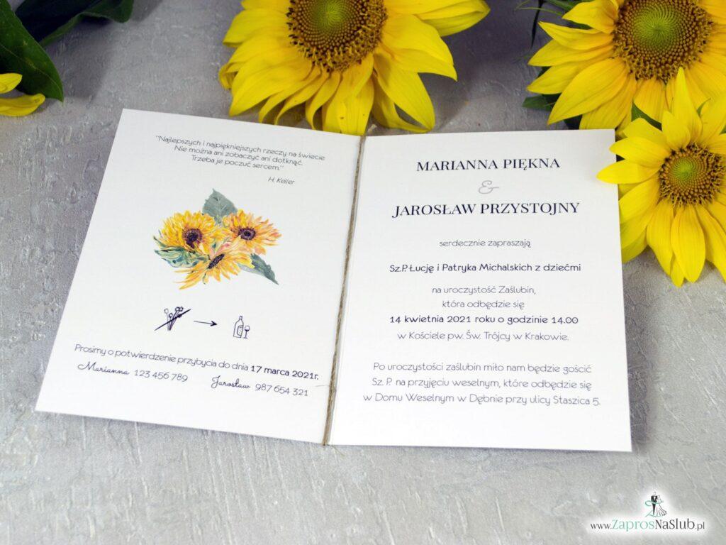 Zaproszenie na ślub z kwiatami słonecznika ZAP-133