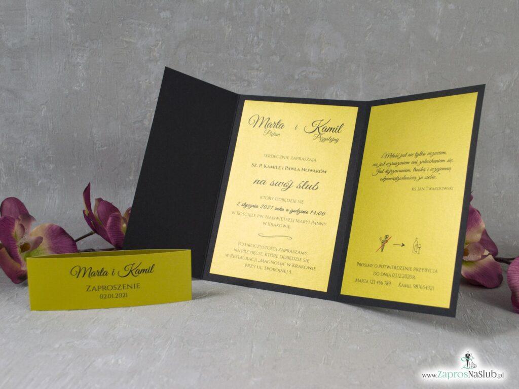 Czarne zaproszenie ślubne ze złotym wnętrzem ZAP-134