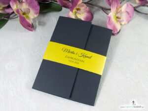 Czarno złote zaproszenie ślubne ZAP-134