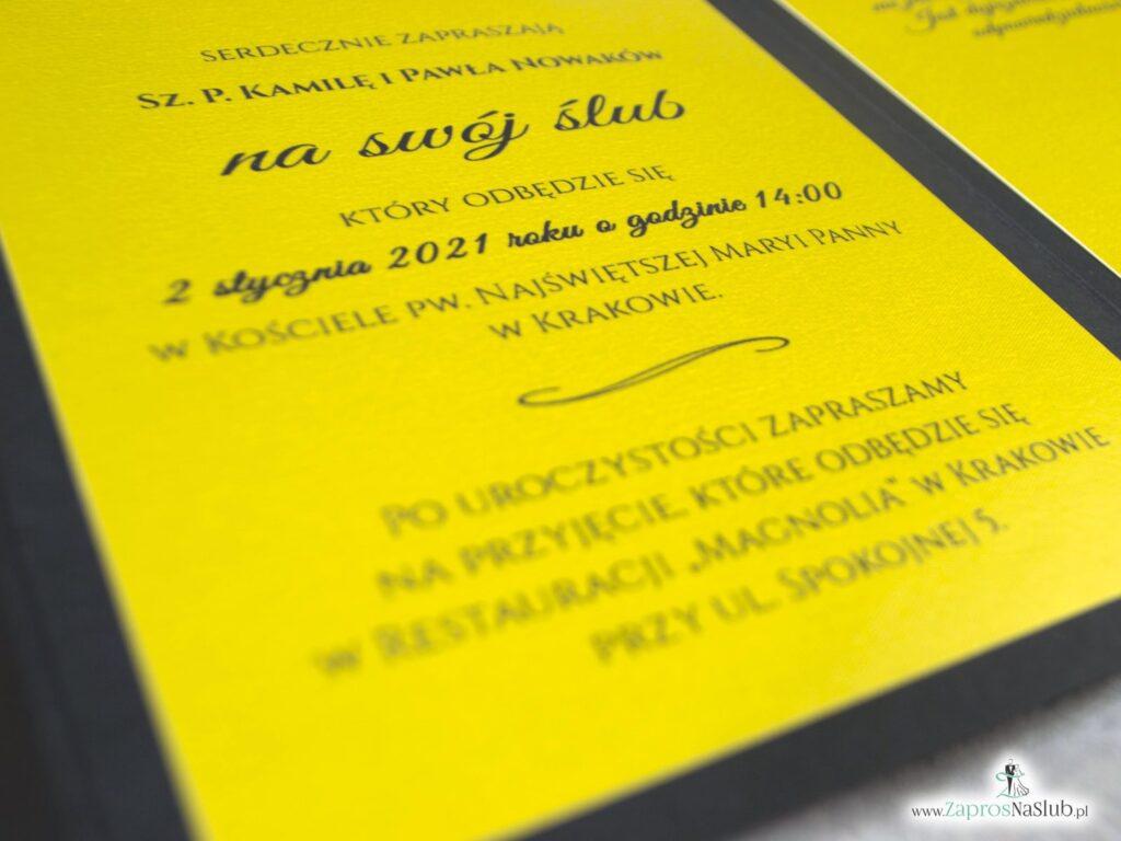 Czarno złote zaproszenie ślubne, eleganckie ZAP-134