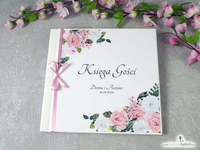 Księga gości z różowymi i białymi kwiatami KSG-41-12 - ZaprosNaSlub