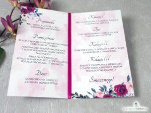 Menu na wesele z różami i geometrycznym sercem MEN-41-06