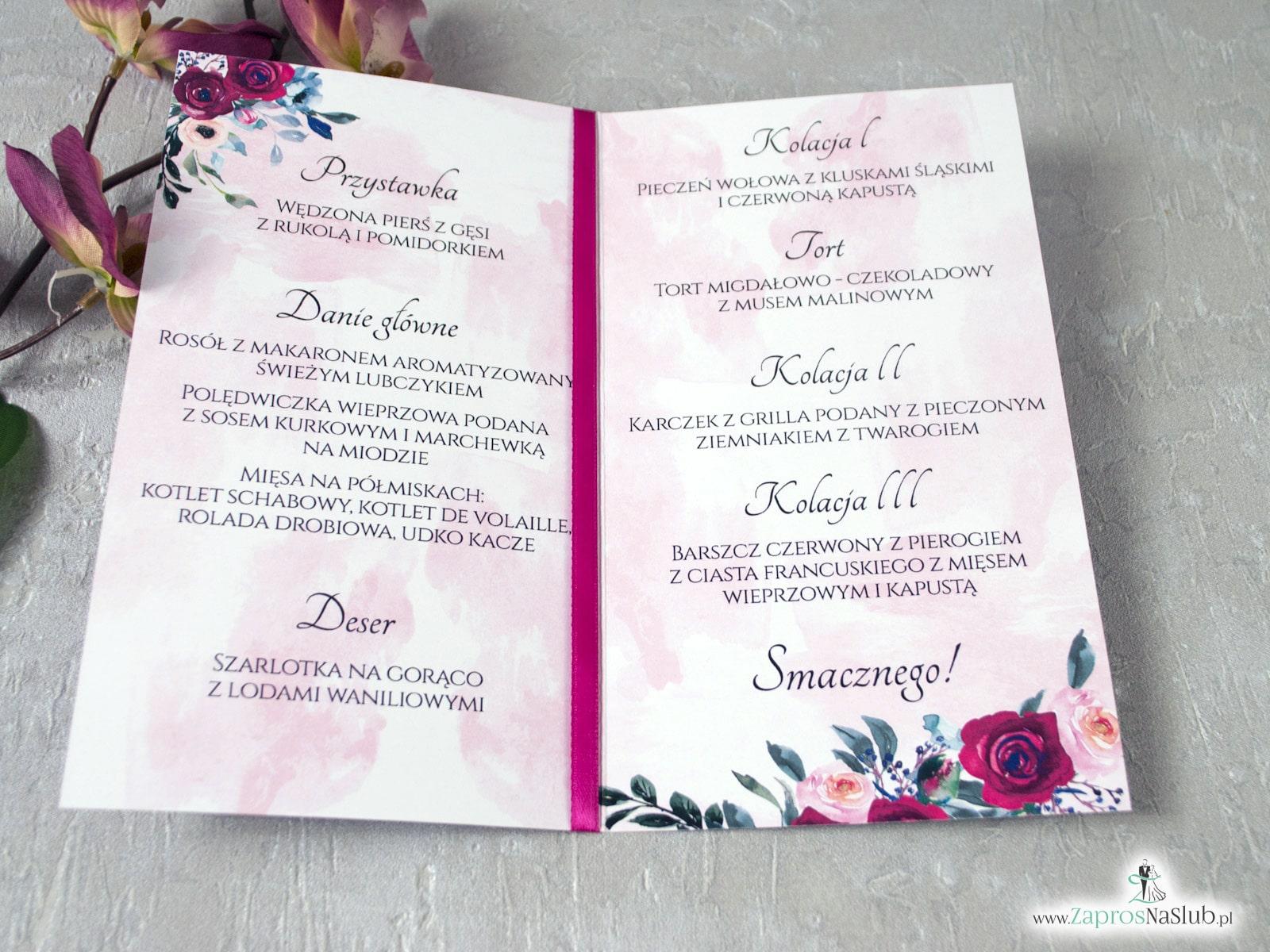 Menu weselne z geometrycznym sercem i kwiatami róży MEN-41-06
