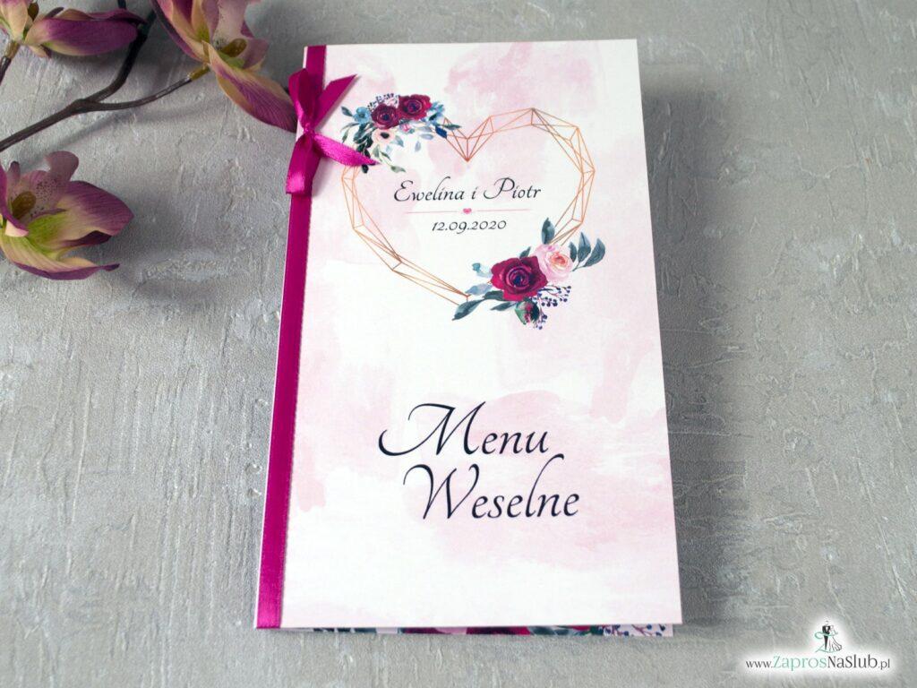 Menu weselne z geometrycznym sercem i różami MEN-41-06