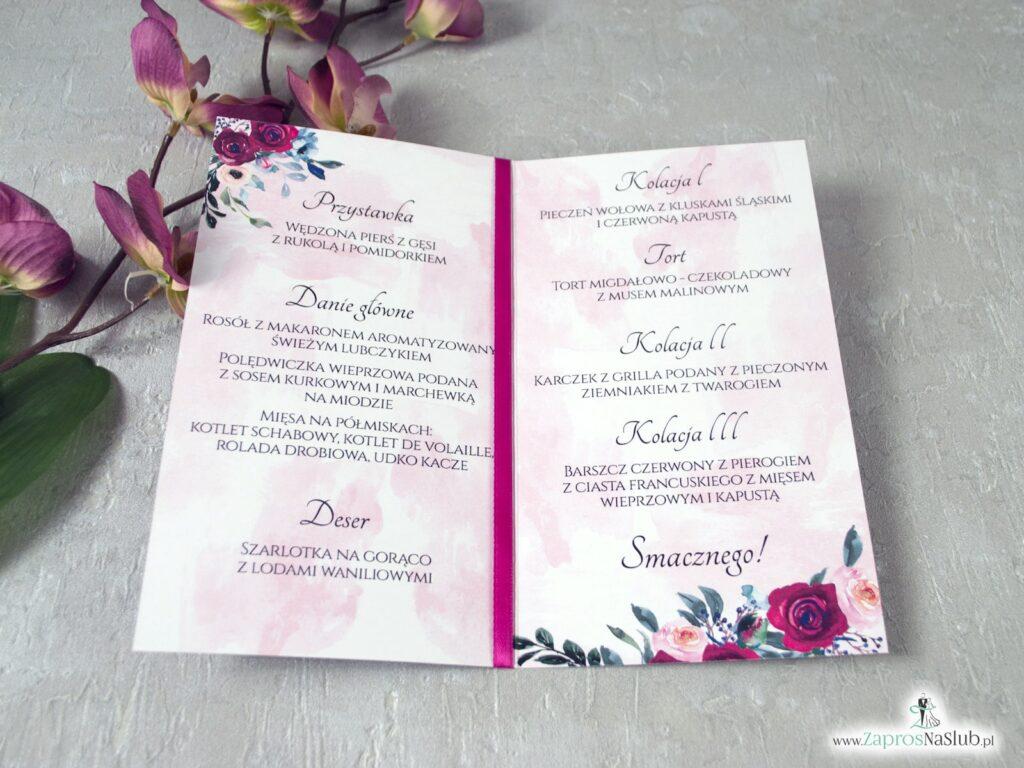 Menu weselne z kwiatami róży MEN-41-06