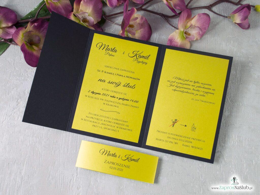 Modne eleganckie zaproszenie ślubne czarno-złote ZAP-134