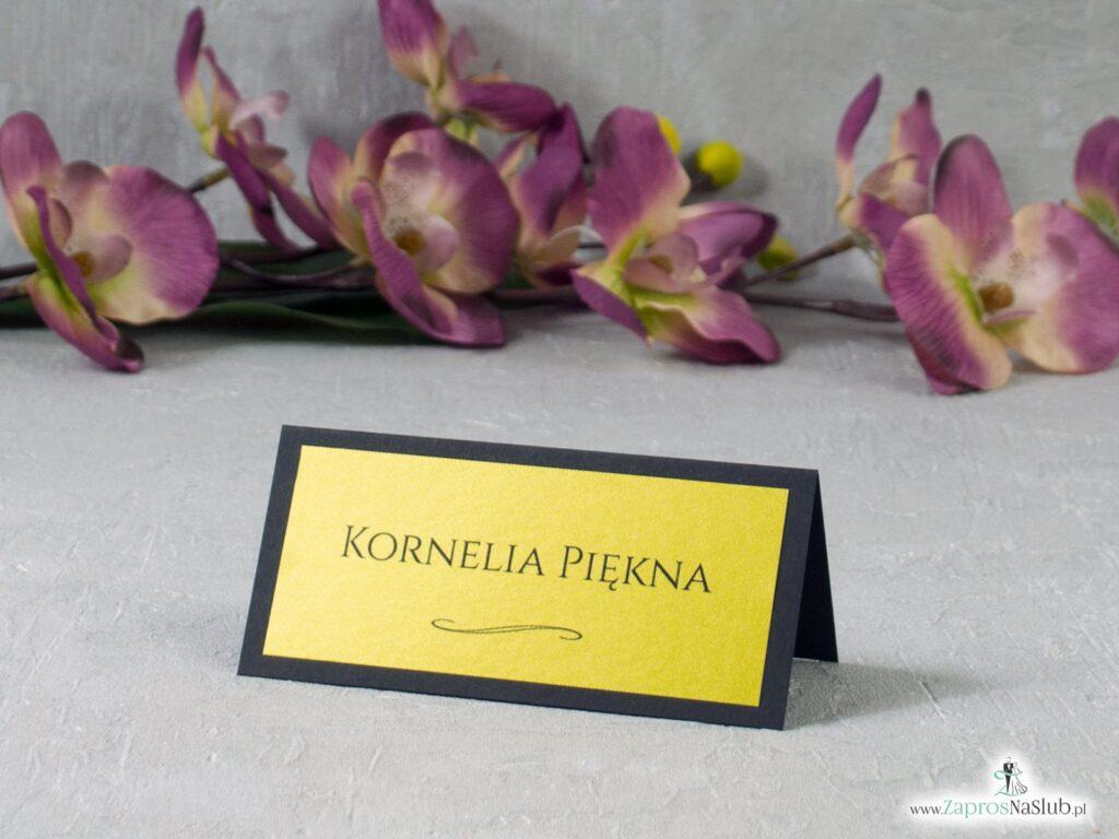 Winietka na ślub czarno złota elegancka WIN-134