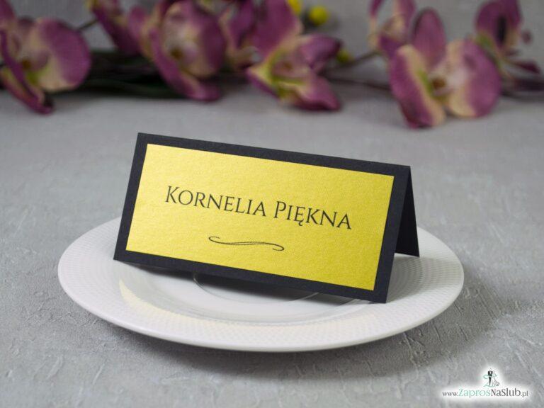Winietki na ślub czarne ze złotym WIN-134