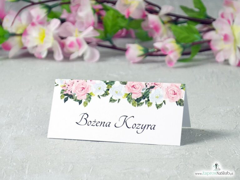Winietki ślubne różowe i białe kwiaty, modne winietki WIN-41-12