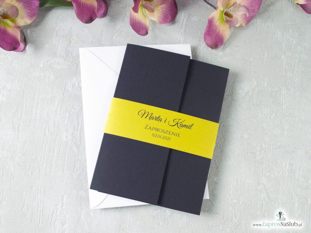 Zaproszenie ślubne czarne ze złotym ZAO-134