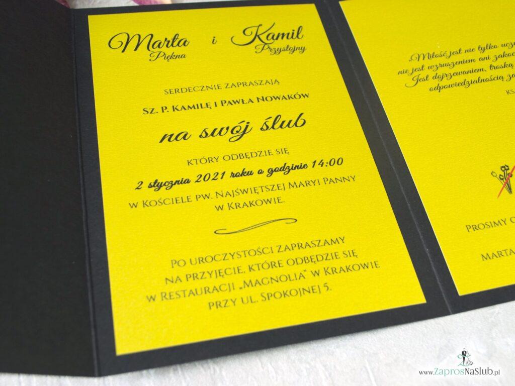 Zaproszenie ślubne w stylu eleganckim czarno-złote ZAP-134