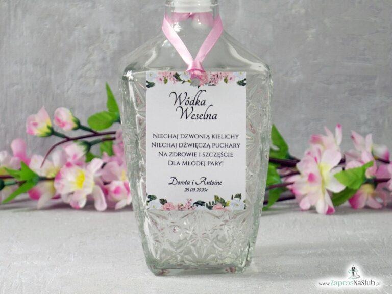 Zawieszka na alkohol z różowymi i białymi kwiatami ZAW-41-12 - ZaprosNaSlub