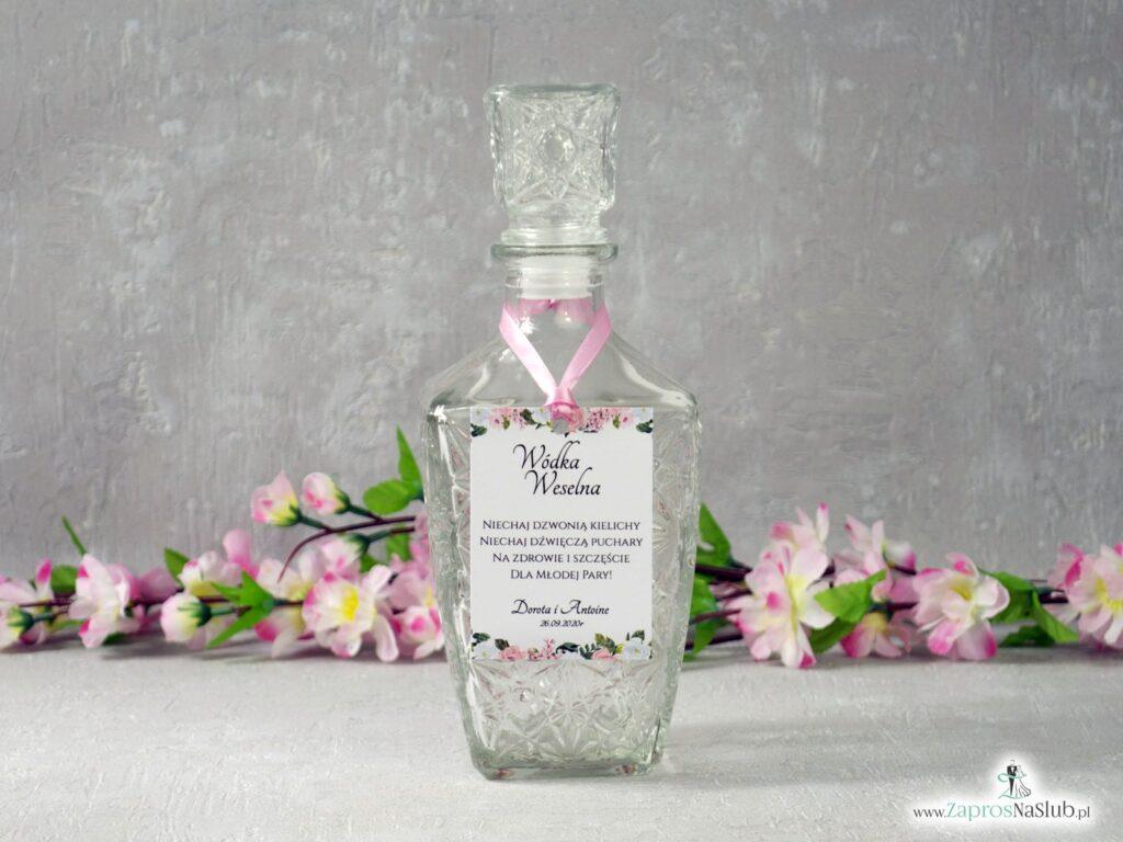 Zawieszka na wódkę z różowymi i białymi kwiatami ZAW-41-12