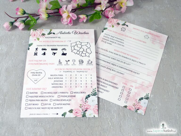 Ankiety weselne z różowymi i białymi kwiatami ANK-41-12