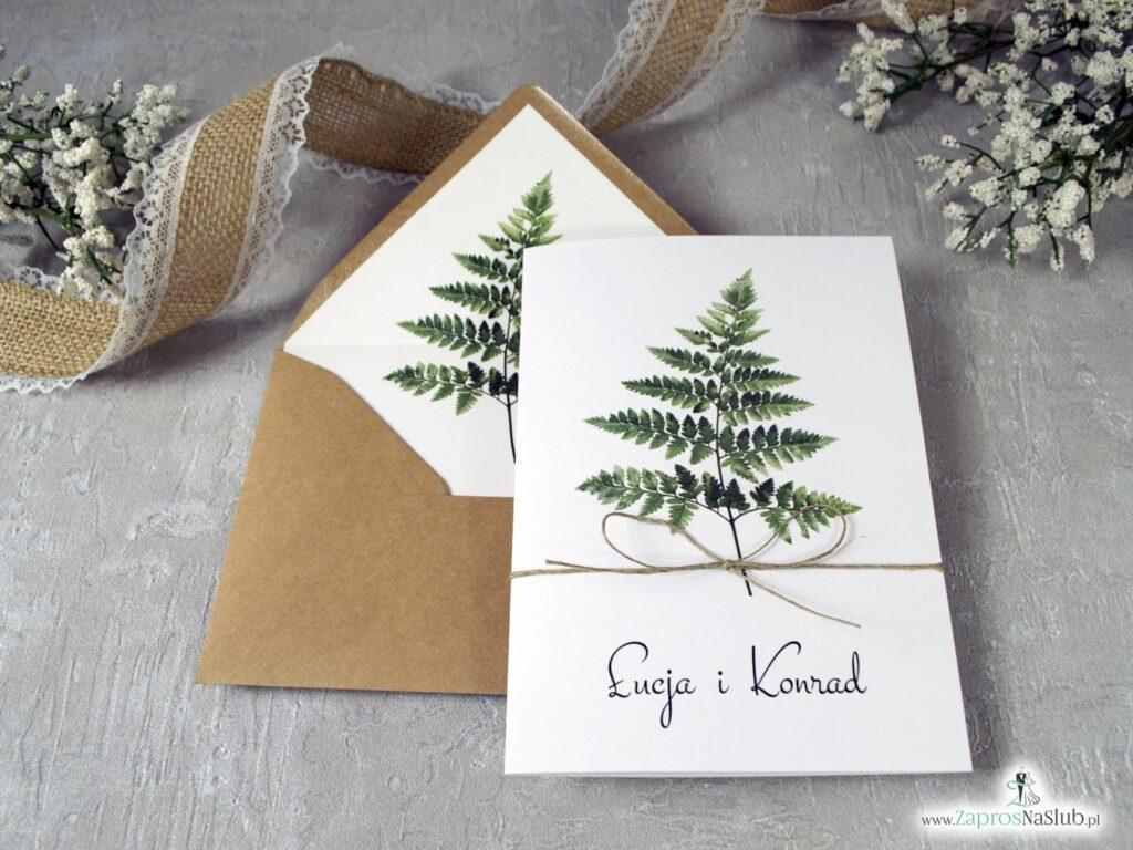 Botaniczne zaproszenia ślubne z paprocią ZAP-136