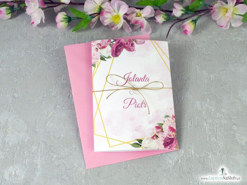 Geometryczne zaproszenia ślubne złote linie różowe kwiaty ZAP-131