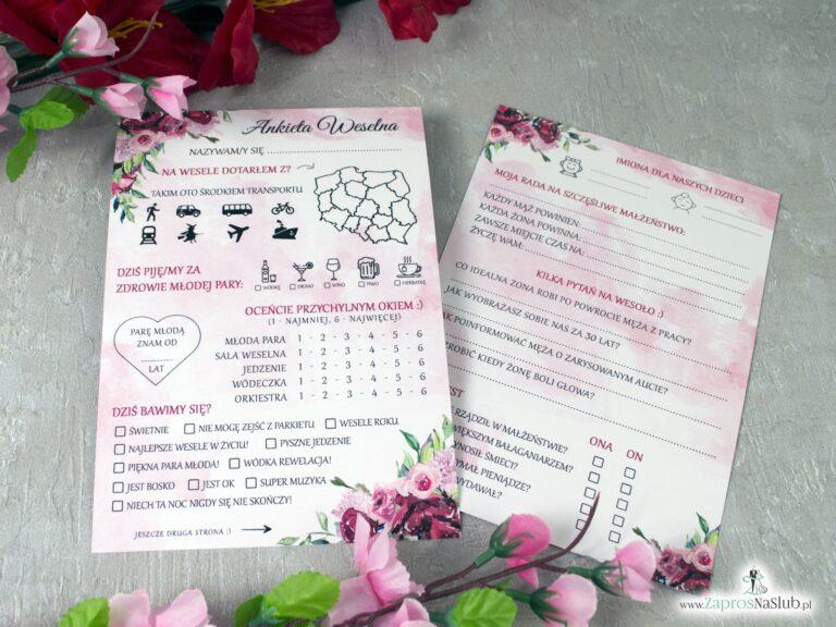 Ankiety weselne z kwiatami piwonii, dwustronne (10szt) ANK-41-08 - ZaprosNaSlub