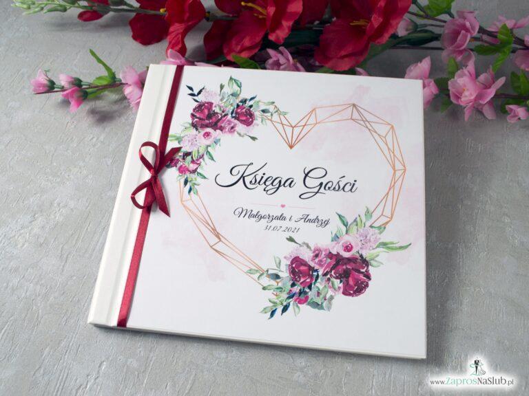 Księga gości z piwoniami i geometrycznym sercem KSG-41-08 - ZaprosNaSlub