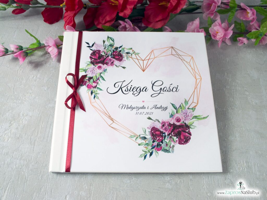 Księga gości z piwoniami i geometrycznym sercem KSG-41-08