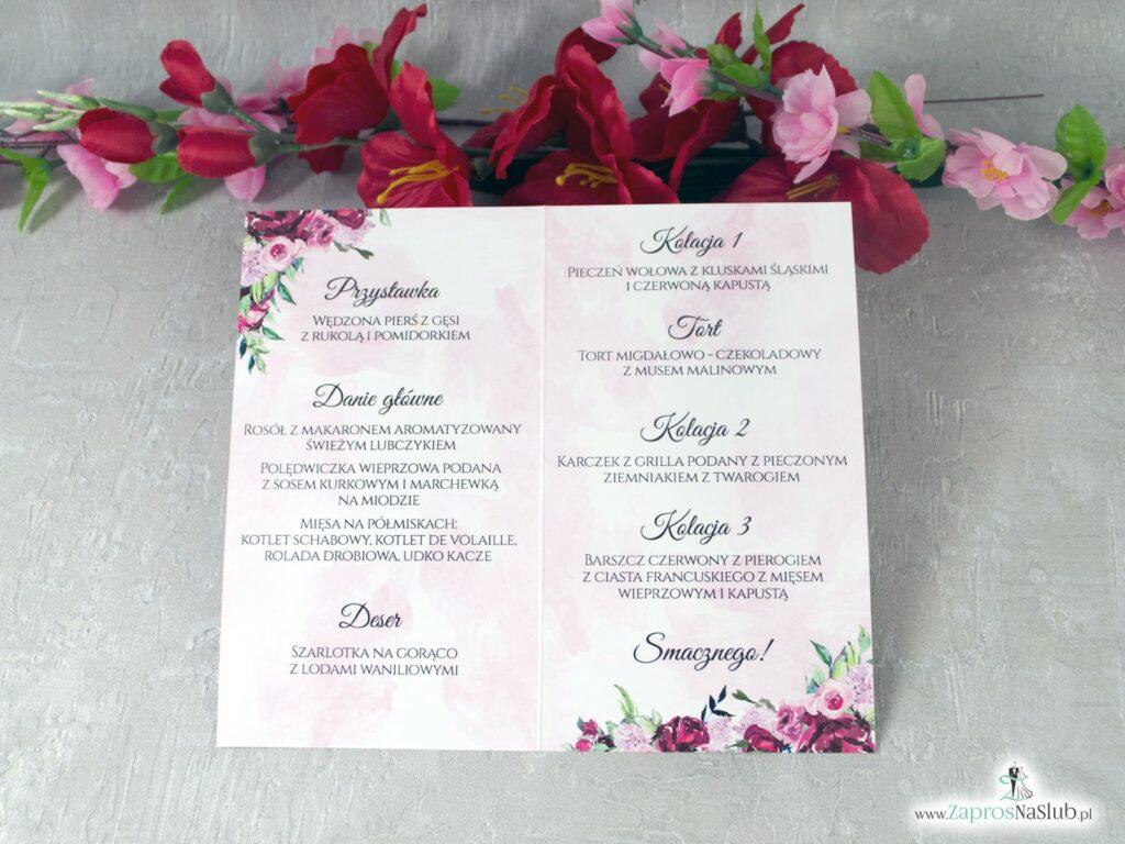 Menu na wesele z piwoniami MEN-41-08