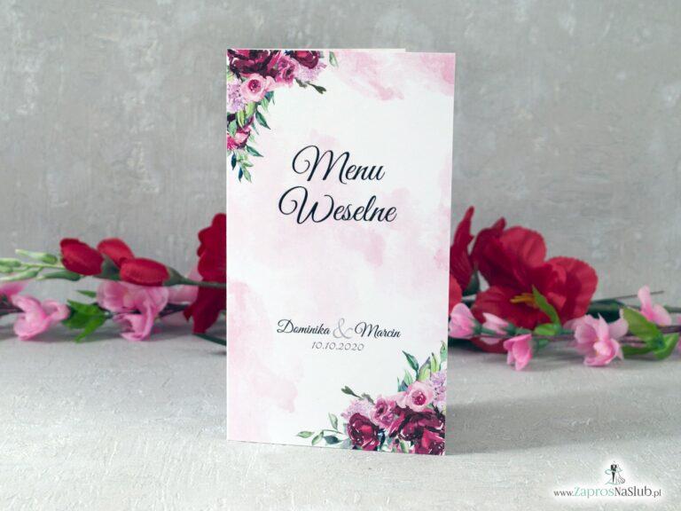 Menu weselne z kwiatami piwonii i delikatnym tłem MEN-41-08