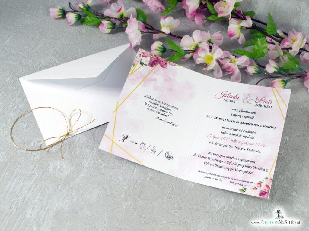 Modne zaproszenia ślubne geometryczne linie i różowe kwiaty ZAP-131