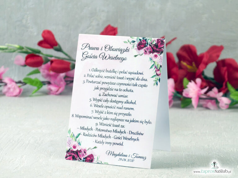 Prawa i obowiązki gościa weselnego z piwoniami PiOGW-41-08 - ZaprosNaSlub