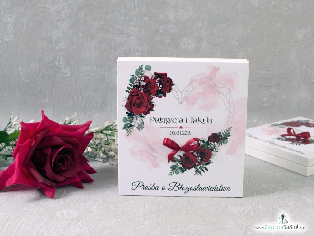 Prośba o błogosławieństwo dla rodziców z czerwonymi różami i geometrycznym sercem POB-41-09