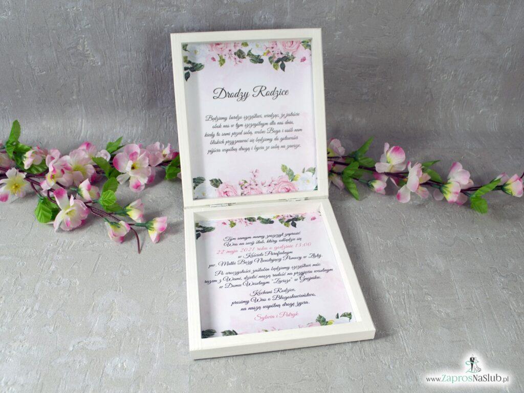 Prośba o błogosławieństwo dla rodziców z geometrycznym sercem i biało różowymi kwiatami POB-41-12