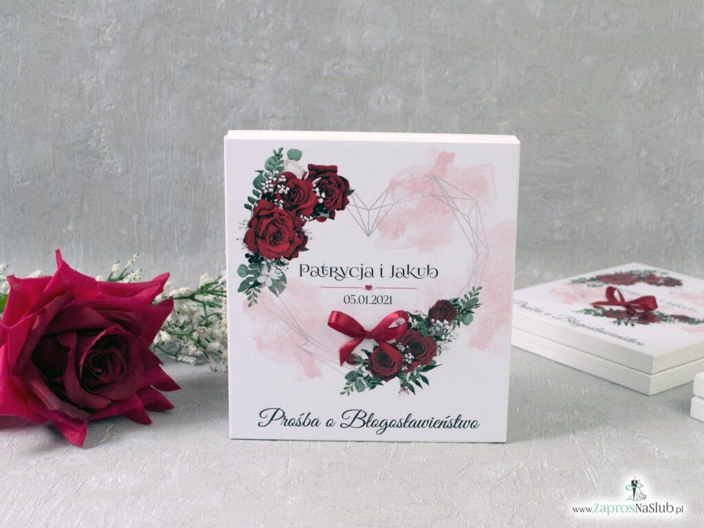 Prośba o błogosławieństwo z geometrycznym sercem i czerwonymi różami POB-41-09