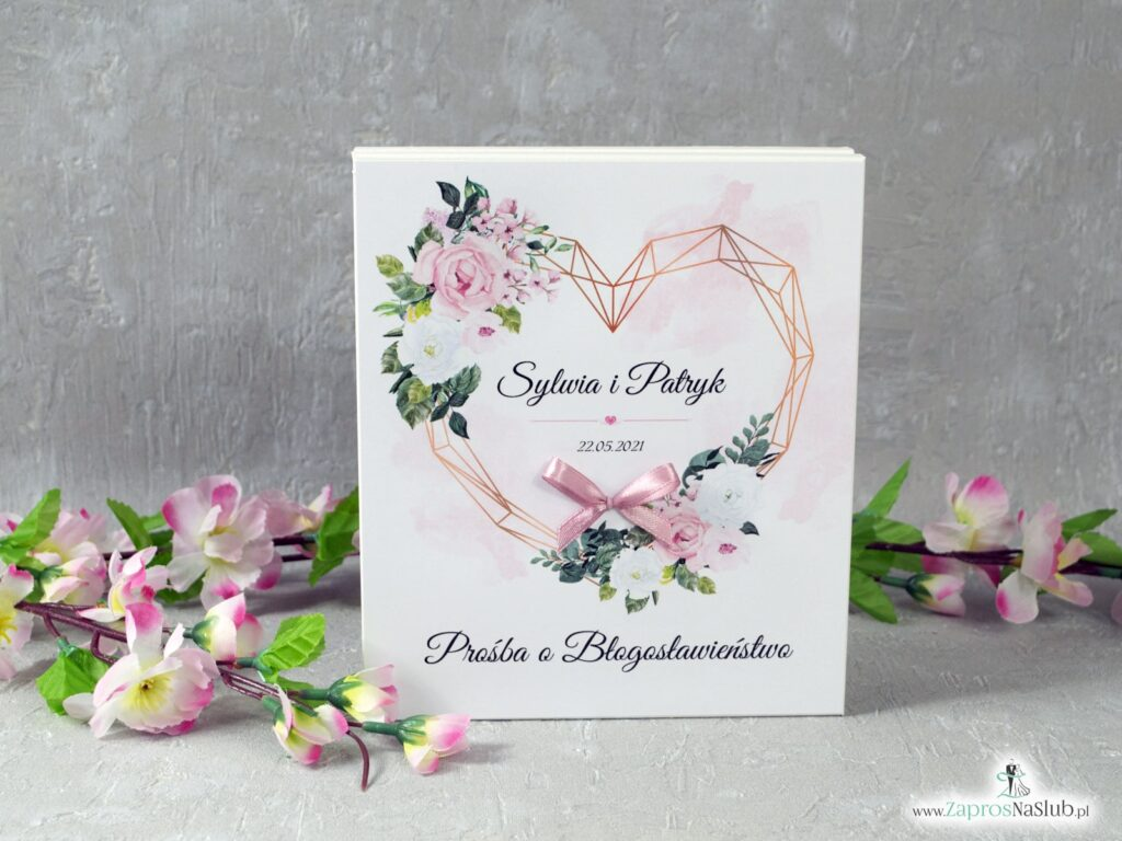 Prośba o błogosławieństwo z różowymi i białymi kwiatami oraz geometrycznym sercem POB-41-12