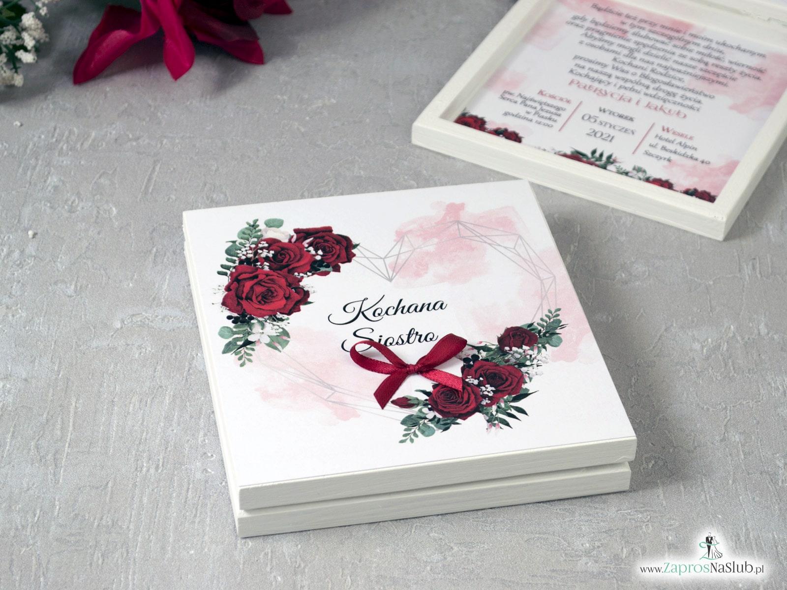 Prośba o świadkowanie z czerwonymi różami z geometrycznym sercem POSW-41-09