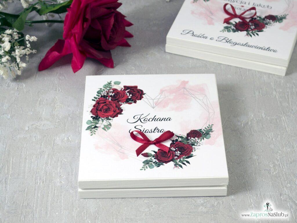 Prośba o świadkowanie z geometrycznym sercem i czerwonymi różami w białym pudełeczku POSW-41-09