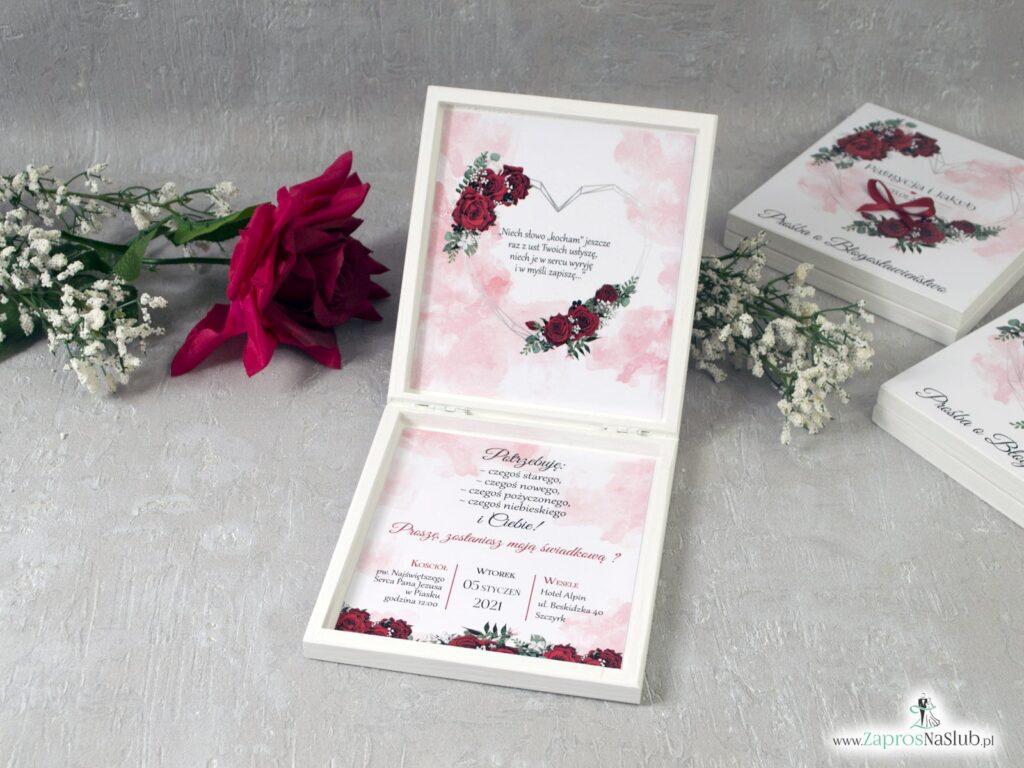 Prośba o zostanie świadkową z drewnianej szkatułce, czerwone róże POSW-41-09