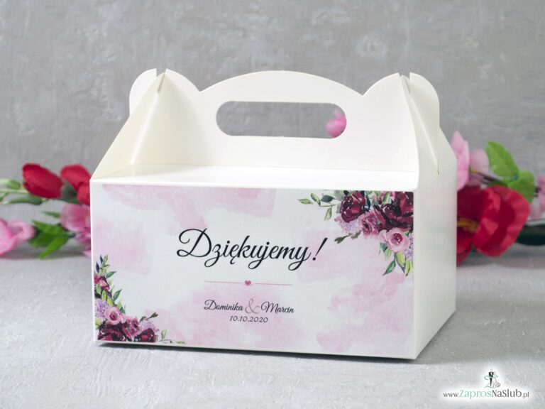 Pudełko na ciasto podziękowanie z kwiatami piwonii PDC-41-08