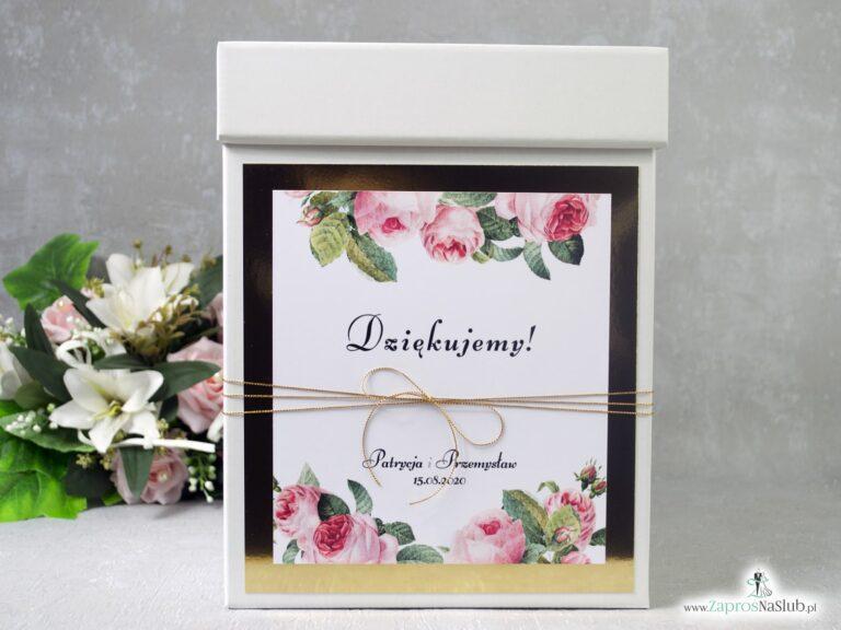Pudełko na koperty ze złotym papierem z efektem lustra i kwiatami róży PNK-110
