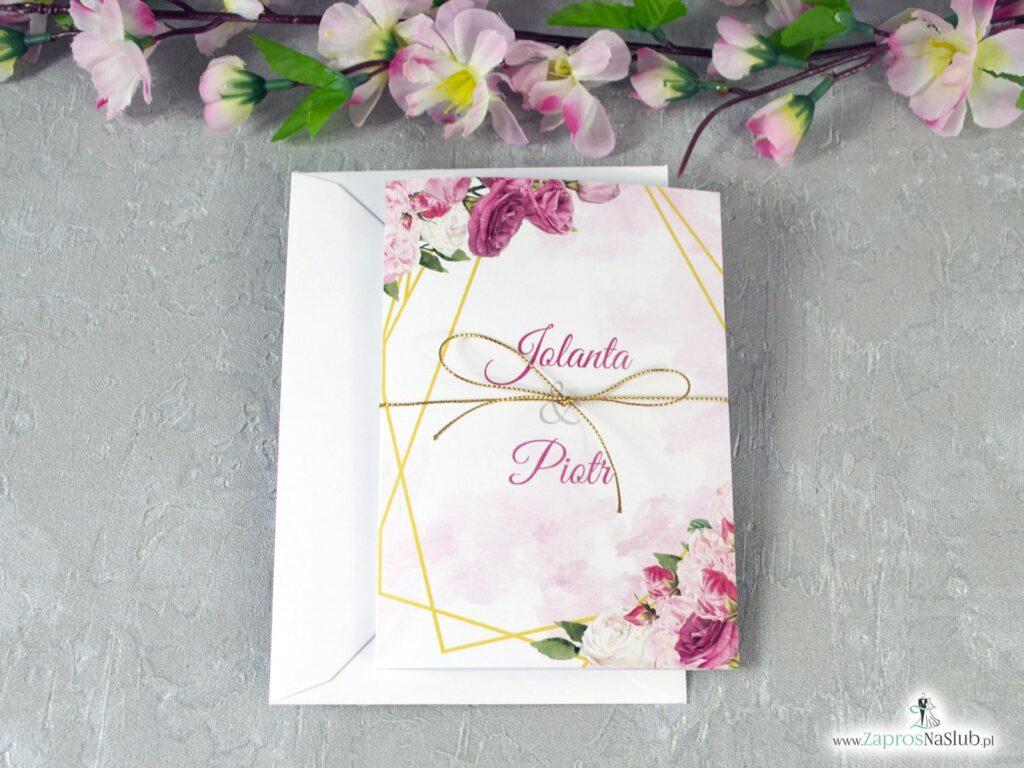 Różowe zaproszenia ślubne, złote linie ZAP-131