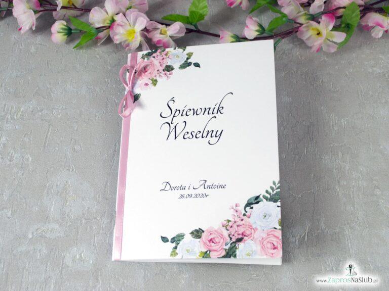 Śpiewnik na wesele z różowymi i białymi kwiatami SPW-41-12