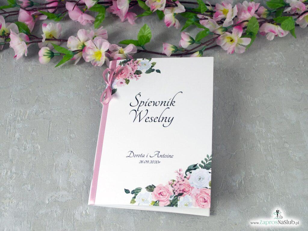Śpiewnik weselny z różowymi i białymi kwiatami SPW-41-12
