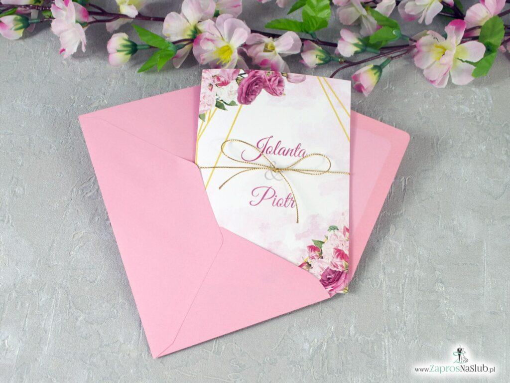 Zaproszenia na ślub geometryczne linie, różowe kwiaty ZAP-131