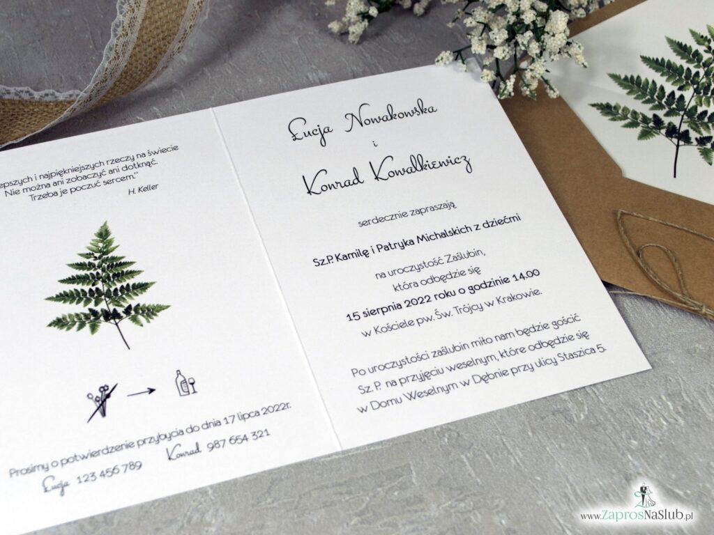 Zaproszenia na ślub z liściem paproci, botaniczne ZAP-136