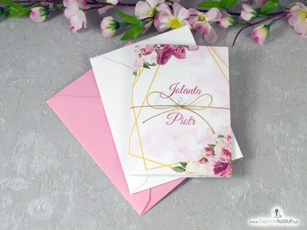Zaproszenia na ślub z różowymi kwiatami i złotymi liniami ZAP-131