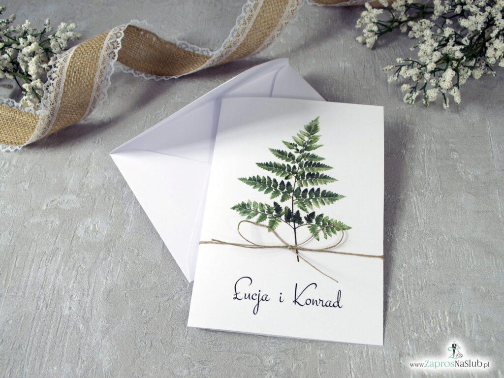 Zaproszenia na ślubne z liściem paproci ZAP-136
